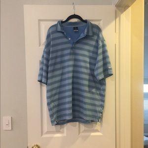 Nike golf dri-fit UV blue striped polo shirt L
